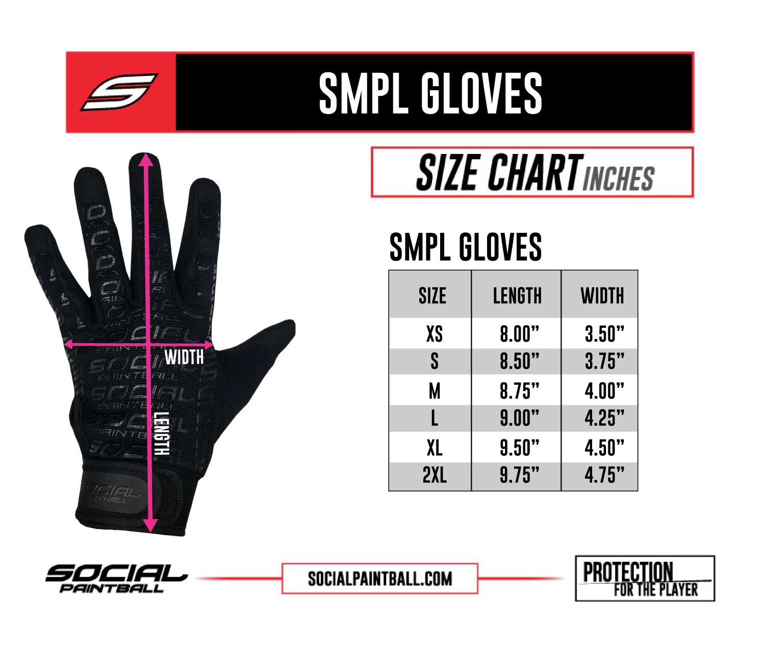SMPL Paintball Gloves Size Chart